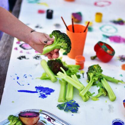 Edukacija - antspaudai iš daržovių